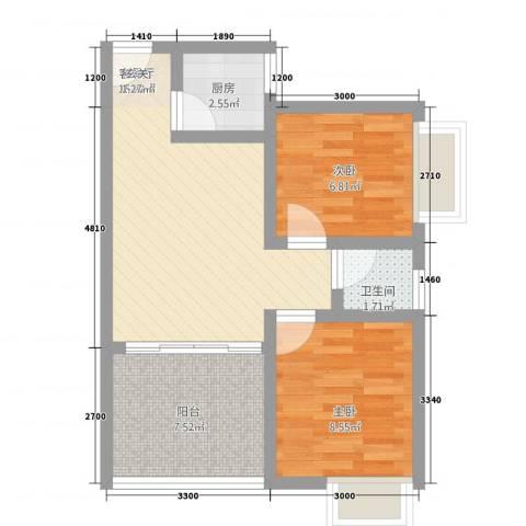 逸清远景2室1厅1卫1厨43.07㎡户型图