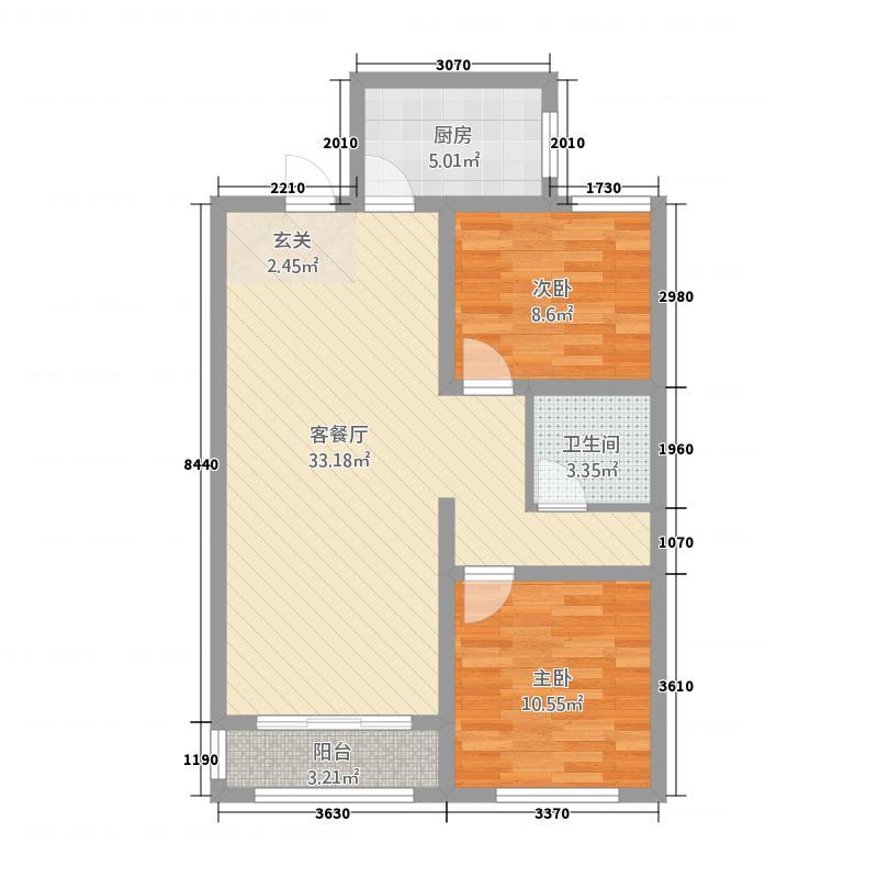 寿光未来城B户型2室2厅1卫1厨