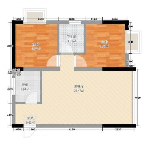 公交集资房2室1厅1卫1厨78.00㎡户型图