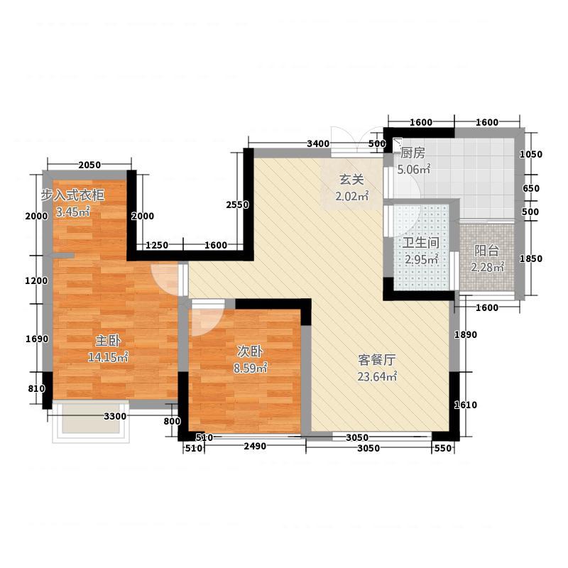 乾和珑湾312173.19㎡B户型1室2厅1卫1厨