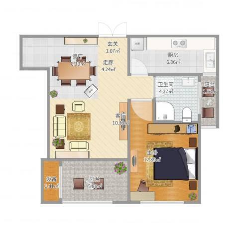 荣域花园1室1厅1卫1厨78.00㎡户型图