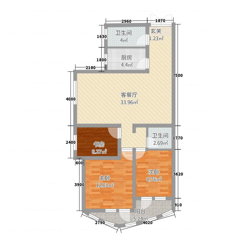 葛洲坝・润景国际11.73㎡户型3室2厅2卫