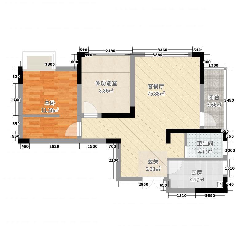 乾和珑湾212171.16㎡B户型1室2厅1卫1厨
