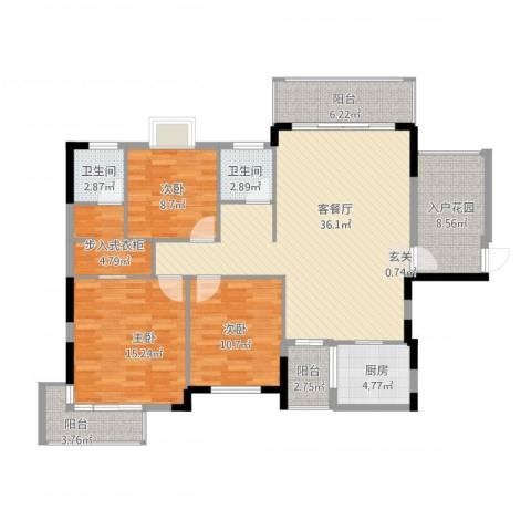 凤凰新城3室1厅2卫1厨151.00㎡户型图