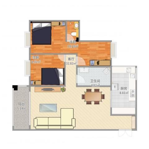 雅怡居2室1厅1卫1厨84.83㎡户型图
