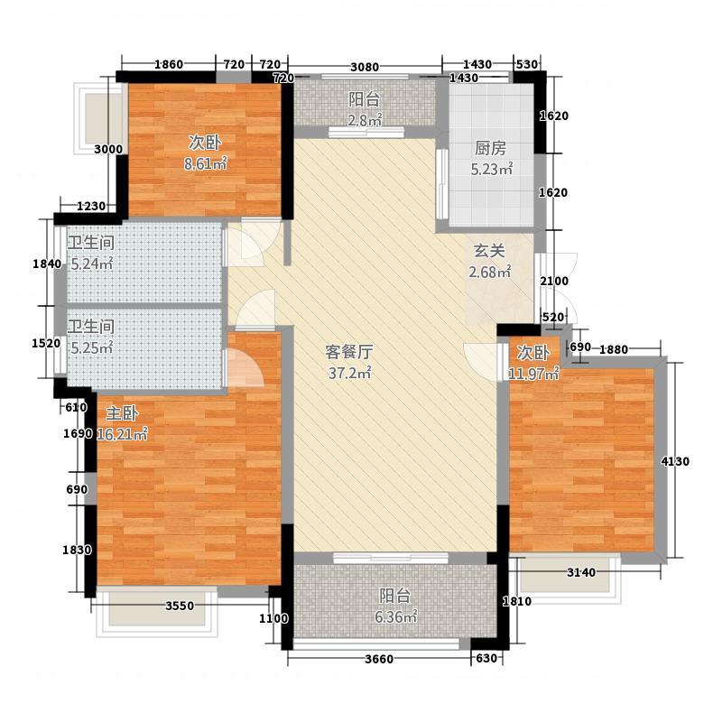 章丘唐人中心1133.20㎡一期D1#、D2#楼标准层B1户型3室2厅2卫1厨