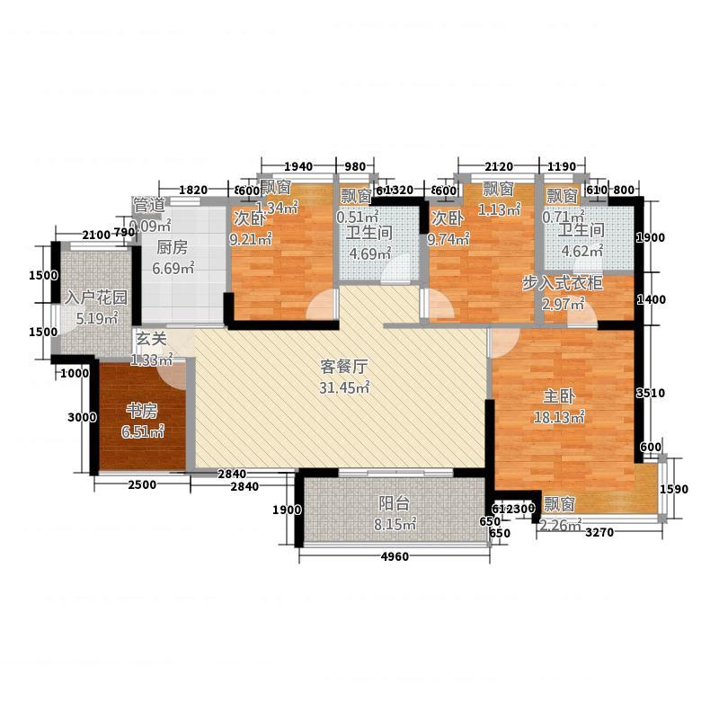 顺德凯茵花园7213.32㎡7栋02单元3室户型3室3厅3卫1厨