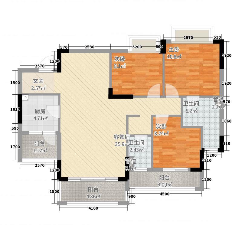 乐从钜隆风度广场2713.20㎡27栋03户型3室2厅2卫1厨