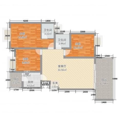 恒森・滨湖晓月3室1厅2卫1厨108.77㎡户型图