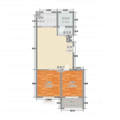 中阳・渤海花园2室2厅1卫1厨872.00㎡户型图