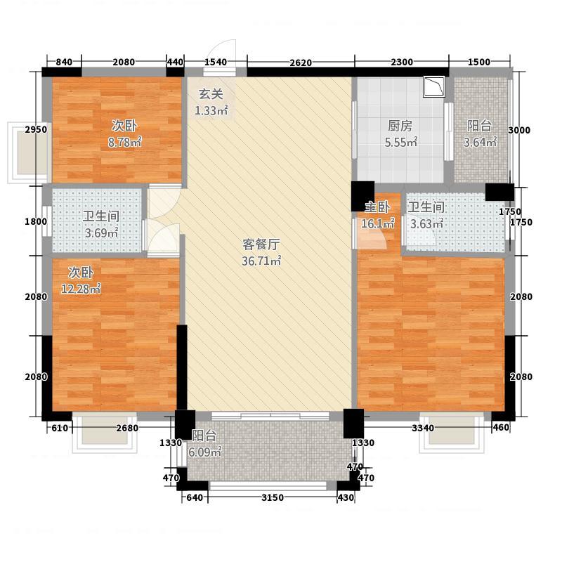 河池澳门国际城33124.20㎡B户型3室2厅2卫1厨