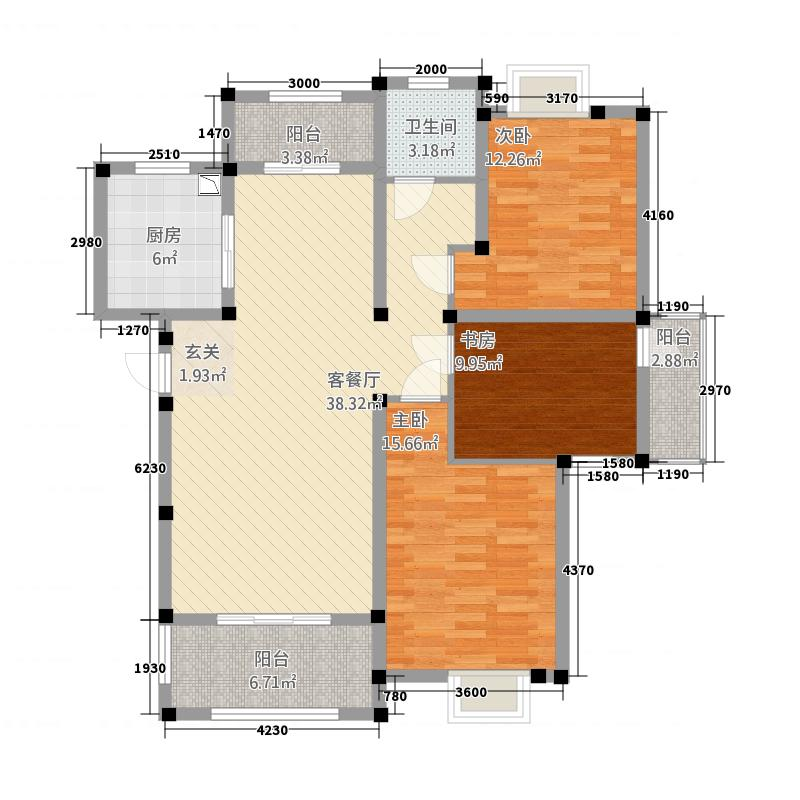 和景印象城13115.52㎡B1户型3室2厅1卫1厨