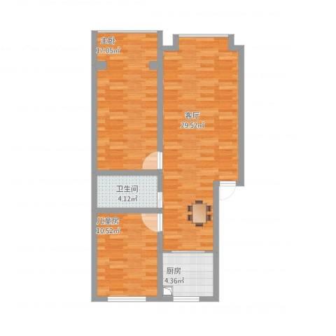 河涧北里2室1厅1卫1厨93.00㎡户型图
