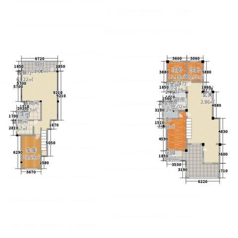 和景印象城3室2厅3卫1厨264.21㎡户型图