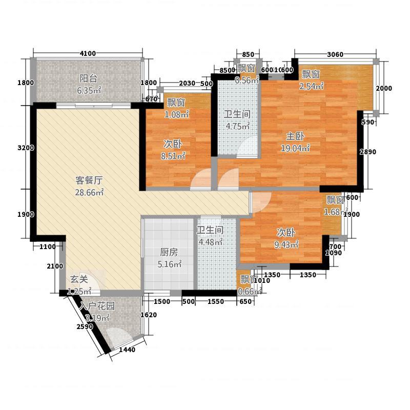 顺德凯茵花园7114.73㎡7栋01单元3室户型3室3厅1厨