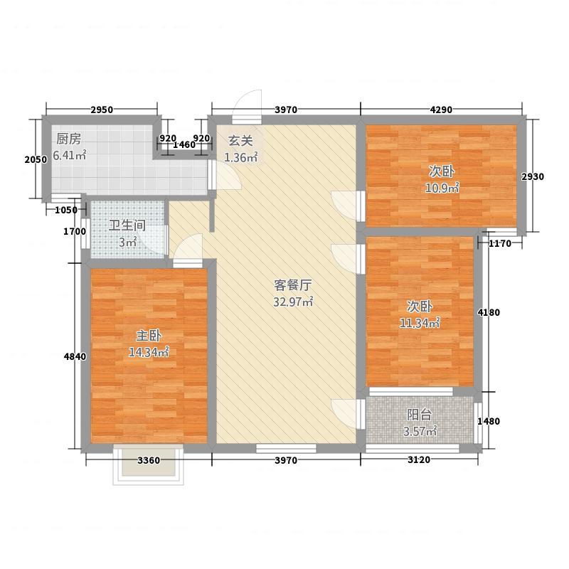 山峰唐宁湾117.66㎡户型3室2厅1卫