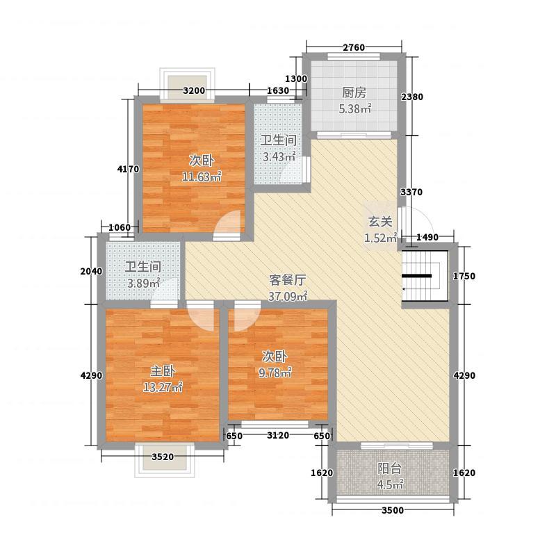 亚特香提雅境128.82㎡花园洋房C3户型3室2厅2卫1厨