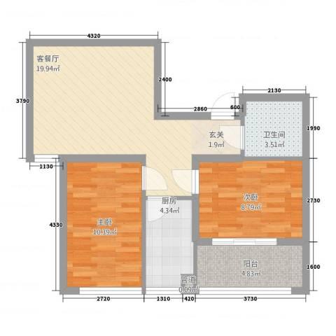 中阳・渤海花园2室1厅1卫1厨7588.00㎡户型图