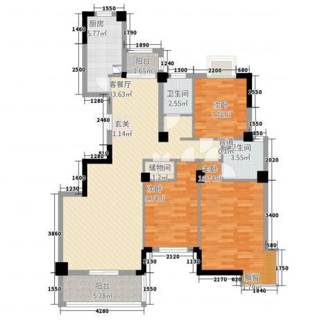 紫金城3室1厅2卫1厨127.00㎡户型图