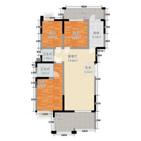 香槟庄园3室1厅2卫1厨312.00㎡户型图