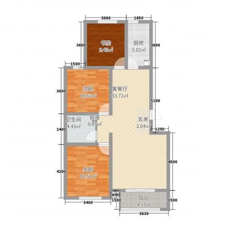 航顺悦澜山3室1厅1卫1厨80.39㎡户型图