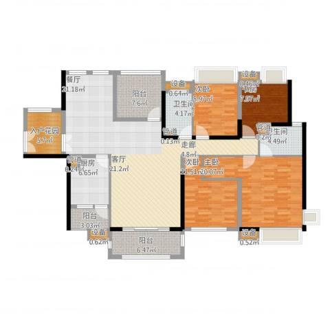 中信凯旋城别墅4室1厅2卫1厨196.00㎡户型图
