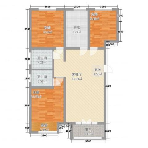 金港花园3室1厅2卫1厨312.00㎡户型图