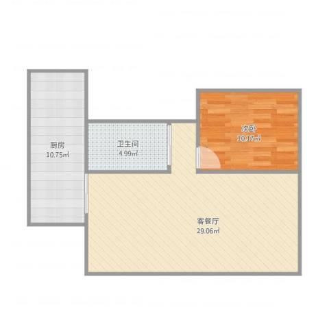 金科中央公园城1室1厅1卫1厨74.00㎡户型图
