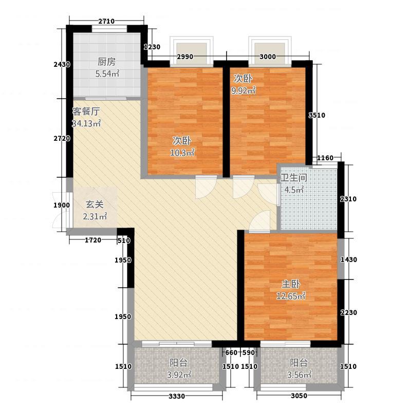 水晶岛户型3室2厅1卫1厨