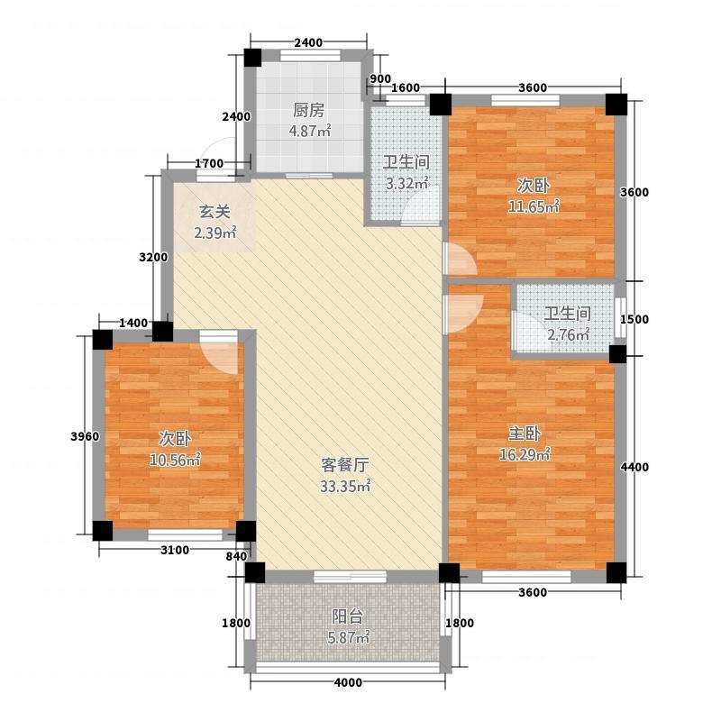 天诚缘13118.33㎡多层东A户型3室2厅2卫1厨