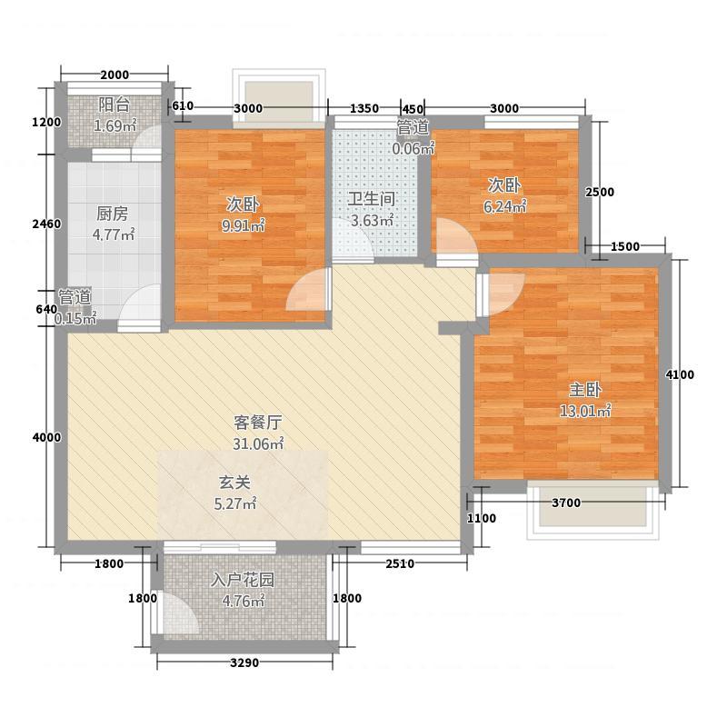 丽月湖岸32.33㎡G户型3室2厅1卫1厨
