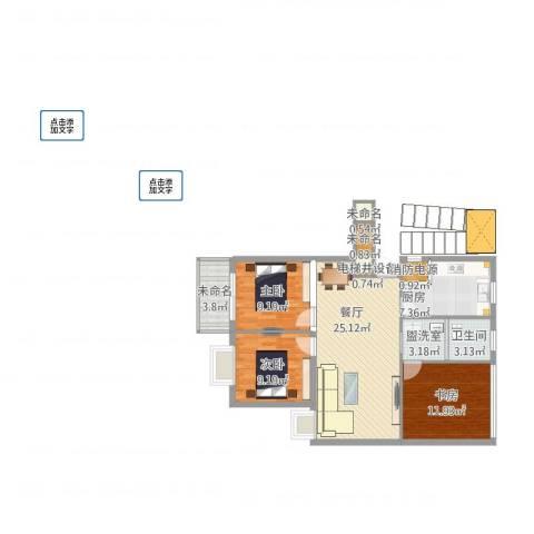 夏家桥118号3室2厅1卫1厨107.00㎡户型图