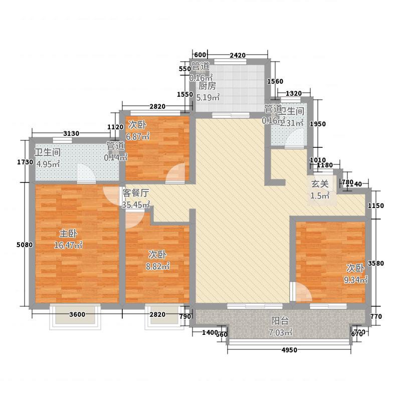 万科・公望142142.20㎡富春户型3室2厅2卫