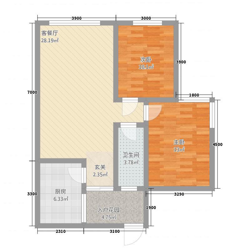 立根尚城83.18㎡H户型3室2厅1卫1厨