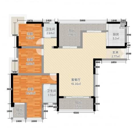 昌龙阳光尚城3室1厅2卫1厨102.26㎡户型图