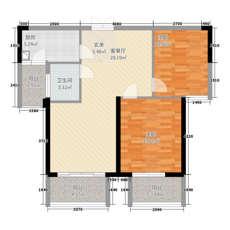 水晶岛户型2室2厅1卫1厨