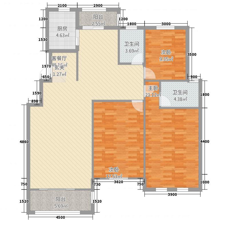 维多利亚3.20㎡F户型3室2厅2卫1厨