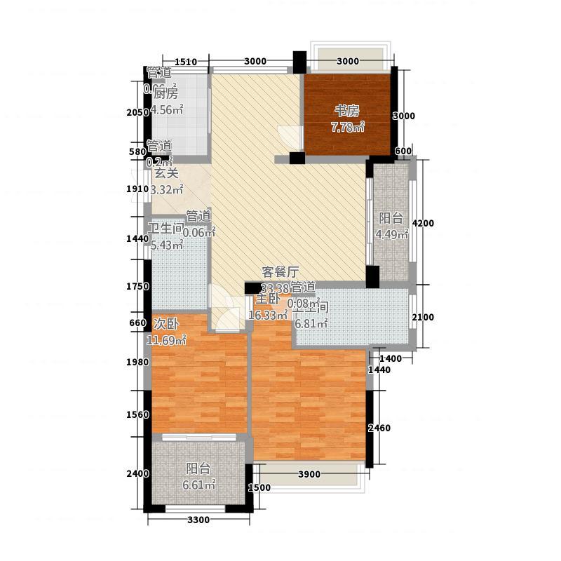 金色时代32132.20㎡H户型3室2厅2卫1厨