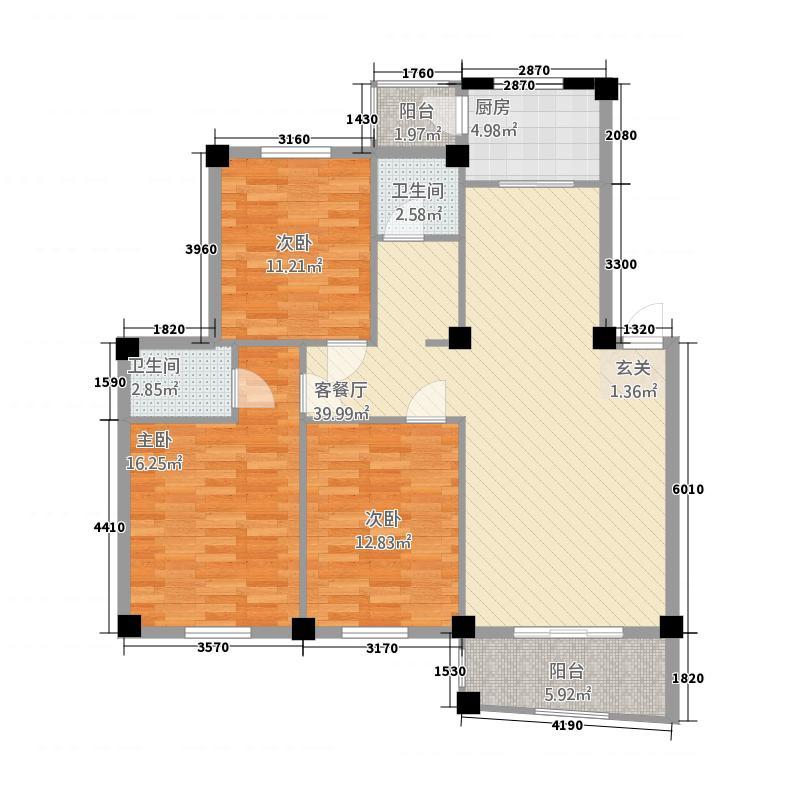 世纪花园32211.12㎡C户型3室2厅2卫1厨