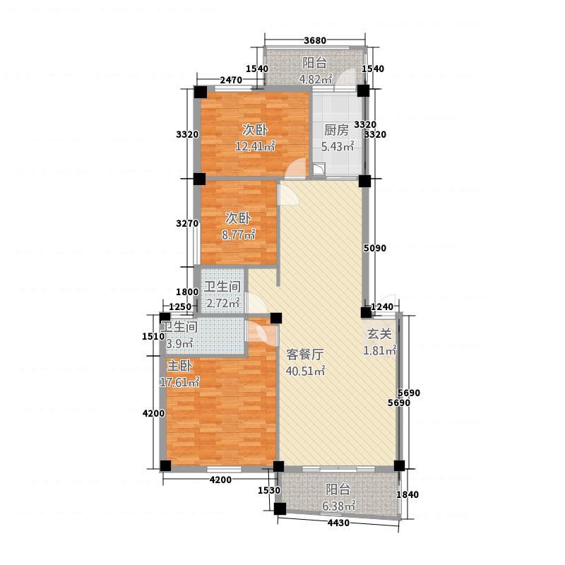 世纪花园732211.13㎡户型3室2厅2卫1厨