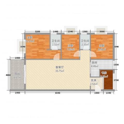 海宇连城国际4室1厅2卫1厨115.00㎡户型图