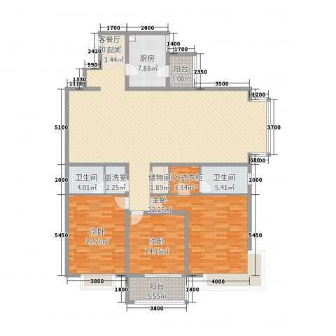 依山居3室2厅2卫1厨223.00㎡户型图