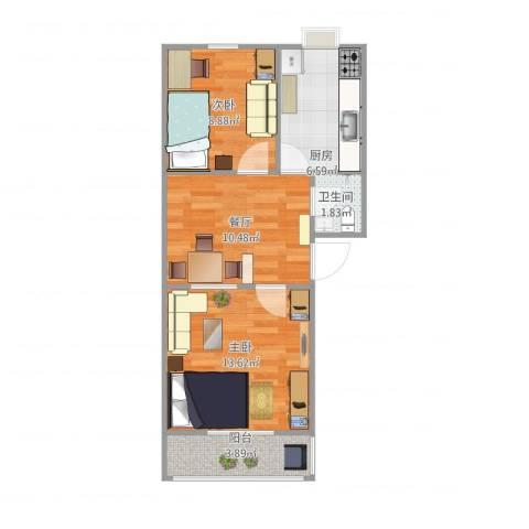 大井东里小区2室1厅1卫1厨62.00㎡户型图