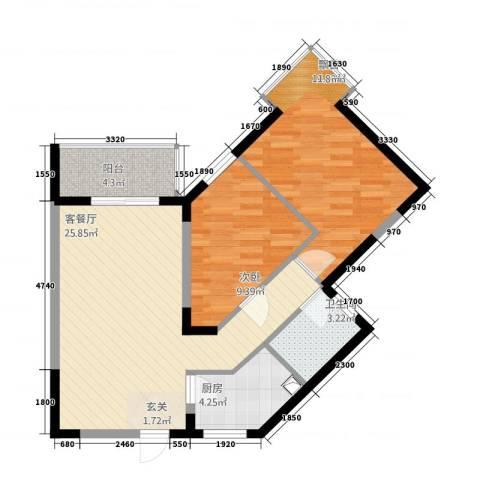 铜锣湾2室1厅1卫1厨38287.00㎡户型图
