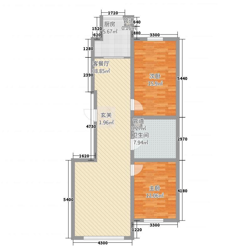 长白山花园114.20㎡11#户型2室2厅1卫1厨