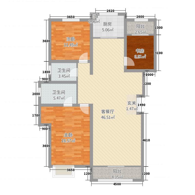 滨河首府32141.34㎡A户型3室2厅2卫