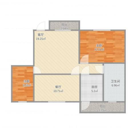 丹州小区2室2厅1卫1厨91.00㎡户型图