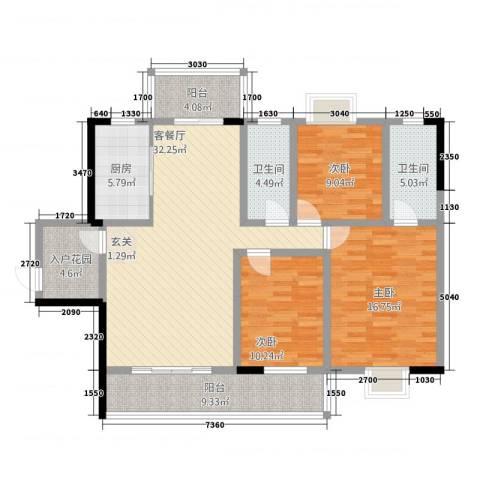 豪景苑3室1厅2卫1厨5313.00㎡户型图