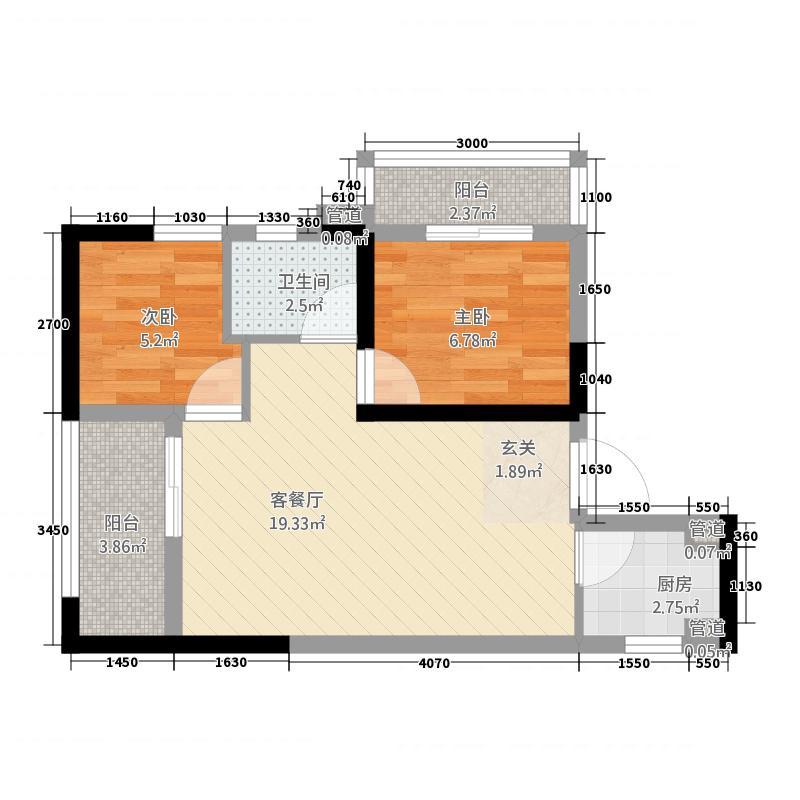 水滨花园64.00㎡B户型2室1厅1卫1厨