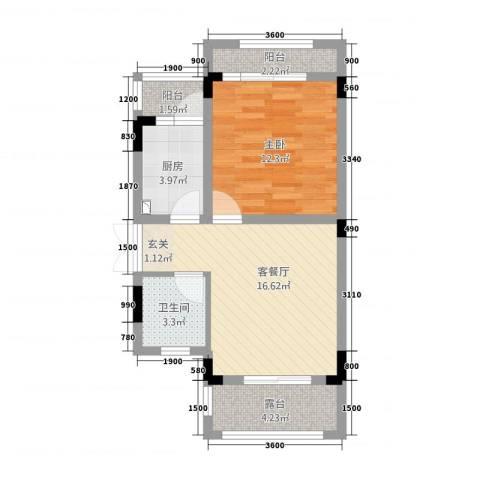 10里・原麓1室1厅1卫1厨66.00㎡户型图